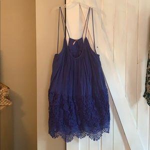 Free People slip dress small blue